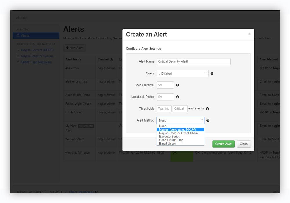 alerting create alerts based on queries with specific thresholds and send them to proper team members