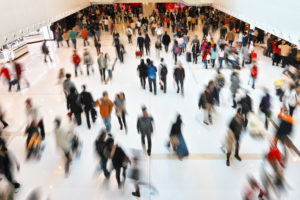 crowds of shoppers at a mall